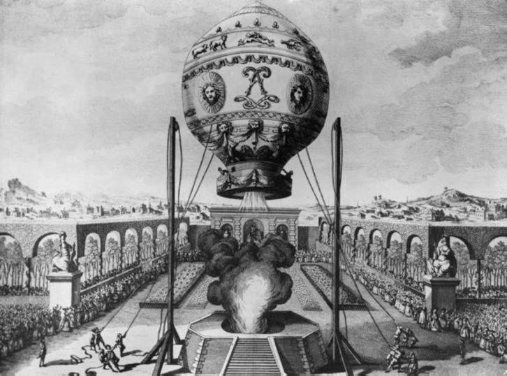 Годината е 1783 – братя Монголфие демонстрират своя балон с горещ ...