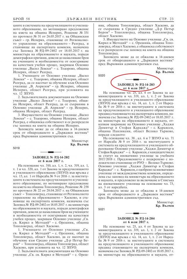 74d3c44be53 23-та е публикувана Заповед № РД-14-203 от 06.07.2017 г. на Министъра на  образованието и науката Красимир Вълчев, с която се ОТКАЗВА закриване на  Основно ...